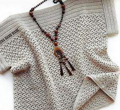 Crochet Womans Bobble Sweater Pullover with long Sleeves / Crochet Tunic Pattern, Crochet Cardigan, Knitting Patterns, Crochet Patterns, Crochet Kits, Top Pattern, Easy Crochet, Crochet Lace, Summer Knitting