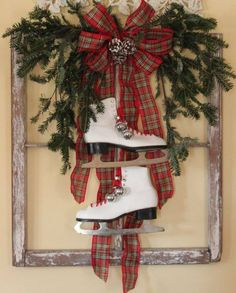 Simple display using greens and ice skates.