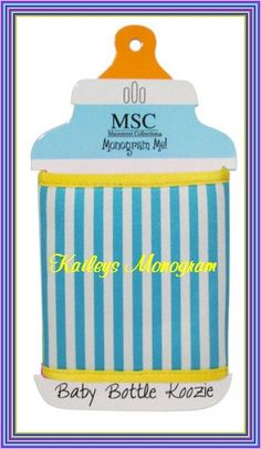 Monogram Coozie Baby Bottle Sippy Cup Cover by KaileysMonogramShop