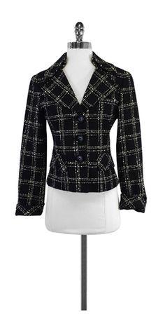 Nanette Lepore Black & Cream Textured Plaid Jacket