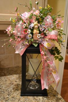 Pink Easter Bunny Lantern Swag by kristenscreations on Etsy