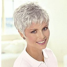 nice Short Pixie Grey Wigs For Women Over 50