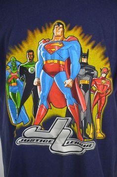 Justice League Mens XL Navy Blue T-Shirt Flash Superman Batman Green Lantern Batman Green Lantern, Navy Blue T Shirt, Justice League, Mens Xl, Superman, Lanterns, Graphic Tees, Cotton, Shirts