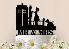 This very sweet Doctor Who Inpsired Silhouette cake topper is a unique way to showcase your cake on the special day. Topper is made from High
