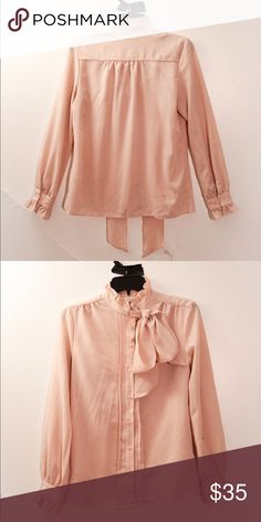 7a9b230fe1c8 I just added this listing on Poshmark: Pink Blouse with Ruffles and  Ascot-Style