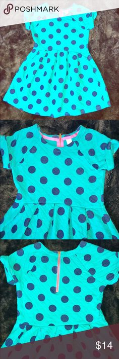 Girls dress - bright with polka dots So cute! Like new girls dress has rolled up short sleeves. Dark turquoise with navy blue polka dots. 100% cotton that feels like a worn in sweatshirt. It's soft and warm. Back has bright pink zipper. Cat & Jack size Medium (girls 7-8). Cat & Jack Dresses Casual