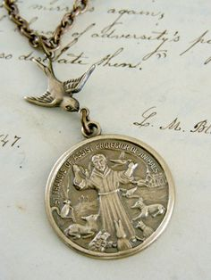 Necklace Saint Francis  Vintage Brass by chloesvintagejewelry, $29.00