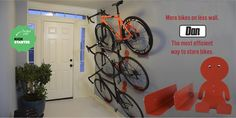 Modern indoor bike rack that looks great with or without bike. Combining sleek design with perfect function. Organize all your cycling gear in one location.