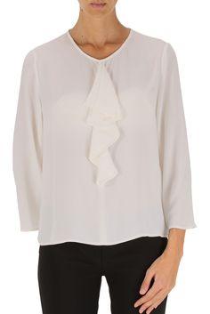 Camicia donna manica lunga della collezione autunno inverno 2015 di Elisabetta Franchi. Con inserto in volant (o Jabot), manica lunga, in poliestere
