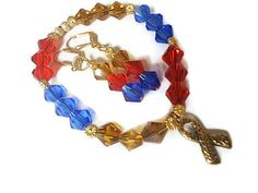 Autism bracelet charm bracelet earring set awareness ribbon jewelry stretch red yellow blue - pinned by pin4etsy.com