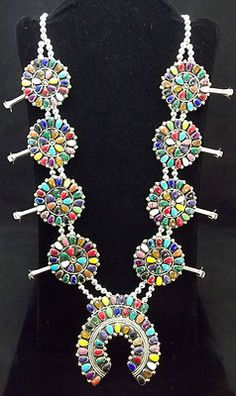 Navajo Silver and Turquoise Squash Blossom Necklace | eBay