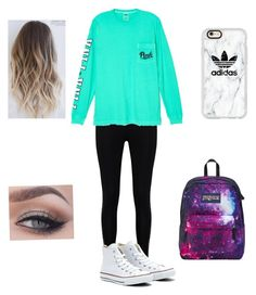 """""""School outfit"""" by itsnina101 on Polyvore featuring Boohoo, Victoria's Secret, Converse, Casetify and JanSport"""