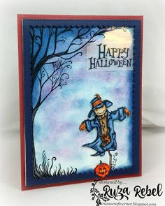 Ruza's Craft Corner: Happy Halloween | Rubbernecker Stamps | Sleepy Hollow Tree (590) | Pirate Scarecrow (932) |  Happy Halloween Sentiment (931)| Halloween | Spooky