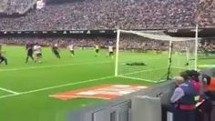 Fan footage of Barcelona players winding Valencia fans up after the goal, before getting bottles thrown at them...  Credit: Football Away Days