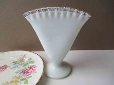 Vintage Fenton Milk Glass Silver Crest Fan Vase