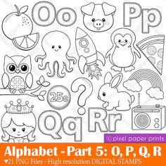 Alphabet Digital Stamps Part 5 OPQR clip art von pixelpaperprints