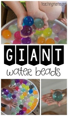 Play with giant water beads for an amazing sensory activity for children. Indoor Activities, Learning Activities, Preschool Activities, Toddler Sensory Activities, Edible Sensory Play, Diy Sensory Toys, Baby Sensory Play, Sensory Art, Sensory Boxes