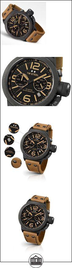 TW Steel CS44 Canteen para hombre acero inoxidable de piel color marrón de la Alianza esfera negra para hombre  ✿ Relojes para hombre - (Lujo) ✿