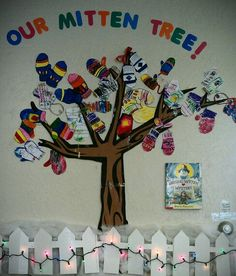 """Our preschoolers made their very own Mitten Tree to go along with the book """"Missing Mitten Mystery"""" in which the little girl wonders if she can plant her mitten to grow more! Kids loved it!"""