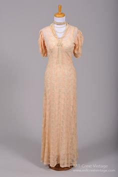 1930 Embroidered Peach Vintage Wedding Gown : Mill Crest Vintage