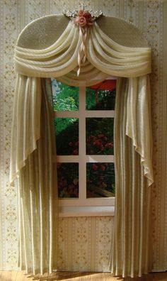 Sewing Curtains Miniature Dollhouse curtains to order by TanyaShevtsova - The curtains measure wide x cm height or your measurements and color Doll House Curtains, Swag Curtains, Curtains And Draperies, No Sew Curtains, Elegant Curtains, Beautiful Curtains, Colorful Curtains, Hanging Curtains, Window Curtains