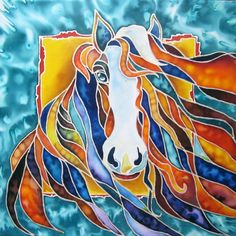 Horse Original Painting on Silk by SilkPaintingAu on Etsy