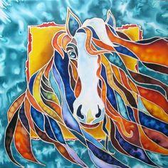 Horse Original Painting on Silk by SilkPaintingAu on Etsy