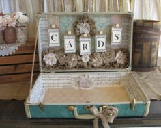 vintage suitcases for wedding decor | ... Rustic Wedding Card Holder - Wedding Card Box, Turquoise wedding decor