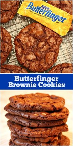 Recipe for Butterfinger Brownie Cookies. These are chocolate cookies with Butterfinger candy bar mixed in. Brownie Cookies, Cookie Dough Cake, Chocolate Chip Cookie Dough, Butterfinger Cookies, Cake Cookies, Oatmeal Cookies, Cupcakes, Best Sugar Cookie Recipe, Cake Mix Cookie Recipes