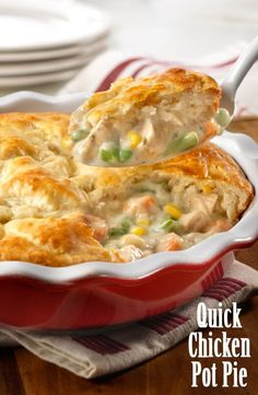 You can have a delicious pot pie on the table quickly and easily. A combination of cooked chicken. frozen veggies and creamy herb and garlic soup is topped with biscuit crust and baked to golden perfection. Give it a try. this is comfort food thats sure to become a family favorite!