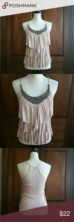 SIS Embellished Falling Layer Front Top SIS Embellished Falling Layer Front Top in dusty rose color Embellishments are antique silver the T-back straps are adjustable and built in liner across back Great condition no missing beads or flaws EUC Tops