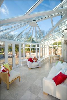 This beautiful conservatory in Cheshire features Pilkington Activ™ Blue allowing it benefit from both Self-cleaning and Solar-control properties Glass Conservatory Roof, Modern Conservatory, Gazebo, Garden Design, Home And Garden, Architecture, House Styles, Outdoor Decor, Conservatories