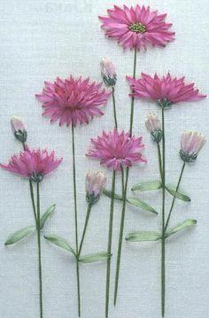 Вышивка лентами сухоцветника