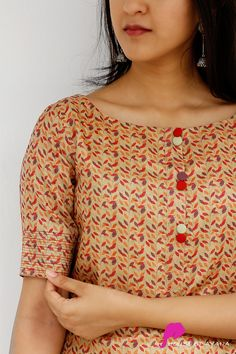 Leafy Tale Tussar Kurti – House of Ayana Silk Kurti Designs, Simple Kurta Designs, Kurta Designs Women, Kurti Designs Party Wear, Fancy Blouse Designs, Chudidhar Designs, Churidhar Neck Designs, Neck Designs For Suits, Sleeves Designs For Dresses