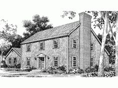 Saltbox house plan 94007 total living area 1900 sq ft for Colonial saltbox house plans