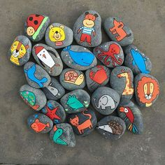 workshop 1 - www. Art Painting Tools, Pebble Painting, Painting For Kids, Pebble Art, Stone Painting, Rock Painting, Stone Crafts, Rock Crafts, Crafts To Sell
