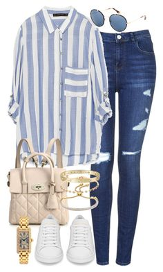 A fashion look from April 2015 featuring zara tops, dark blue jeans and white leather shoes. Browse and shop related looks. Cute Casual Outfits, Casual Chic, Stylish Outfits, Casual Wear, Look Fashion, Fashion Outfits, Fashion Face, Outfit Trends, Topshop