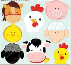 Barn Animal Faces Cute Digital Clipart - Commercial Use OK - Farm Animals, Barn Animals, Farm Clipart Barn Animals, Barnyard Animals, Jungle Animals, Clipart, Farm Animal Party, Farm Birthday, Farm Theme, Animal Faces, Punch Art