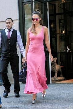 Turning heads: Jessica looked glamorous as she stepped out in New York that day