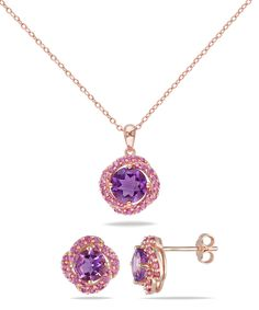 Amethyst & Pink Sapphire Pendant Necklace & Stud Earrings | zulily