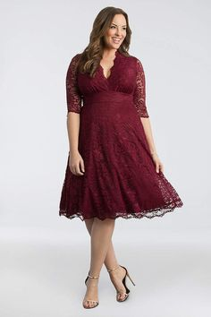 b03394fa288 View 3 4 Sleeved Soft A-Line Lace Plus Size Dress 12150901DB Lace Party