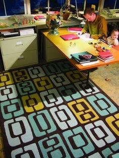 angela adams Munjoy rug, modern home office