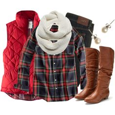 Love this- red vest (I'm in need of a vest!) with plaid shirt- totally my style and my kind of an outfit! Looks Chic, Looks Style, Style Me, Classic Style, Look Fashion, Girl Fashion, Fashion Outfits, Womens Fashion, Fasion