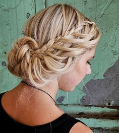 Waterfall Side Braid with Bun For this lovely style, blonde or lighter-toned hair again works best, but it's not a must. Look for a waterfall braid tutorial on Youtube, and use the technique to make two overlapping loosely-braided side braids. Lift the ends of the braids up in a sort of a messy low bun, and it's done.