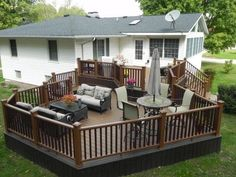 #Trex Transcend Tree House deck with Vintage Lantern railing built by TrexPro Gold American Deck and Sunroom of Mahomet, IL.  Click the image to visit the contractor's website.