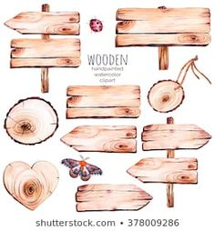 This handpainted collection of 9 watercolor wood slices clipart.Wood pointer, board,wooden heart,but. Watercolor On Wood, Watercolor Lettering, Watercolor Wedding Invitations, Watercolor Illustration, Watercolor Paintings, Homemade Stickers, Clip Art, Wood Slices, Wooden Hearts