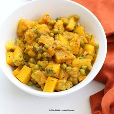 Vegan Bombay Potatoes and Peas | http://VeganRicha.com Easy Indian Spiced Potato and Pea curry. #vegan #glutenfree #soyfree #Indian  skip oil