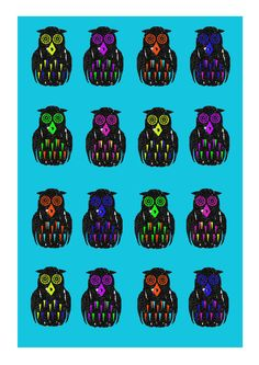 #illustration #print #pattern #owls #colour