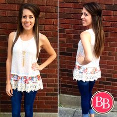 AHHHDORABLE!!!  NEW Catch My Drift Top {$24.95} • Now LIVE at www.brandisboutiqueshop.co! #bbgirls #summer #lace