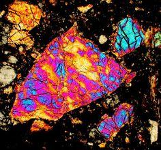 NWA 4884 LUN meteorite thin section viewed through a polarizing microscope